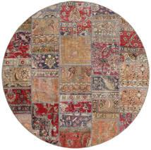 Patchwork - Persien/Iran Covor Ø 200 Modern Lucrat Manual Rotund Gri Deschis/Roșu-Închis (Lână, Persia/Iran)