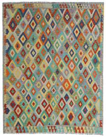 Chilim Afghan Old Style Covor 190X247 Orientale Lucrate De Mână Gri Deschis/Verde Închis (Lână, Afganistan)