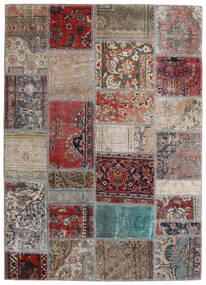 Patchwork - Persien/Iran Covor 141X198 Modern Lucrat Manual Gri Deschis/Roșu-Închis (Lână, Persia/Iran)