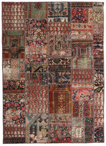 Patchwork - Persien/Iran Covor 144X201 Modern Lucrat Manual Roșu-Închis/Maro Închis/Maro Deschis (Lână, Persia/Iran)