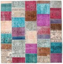 Patchwork - Persien/Iran Covor 200X205 Modern Lucrat Manual Pătrat Gri Deschis/Violet Deschis (Lână, Persia/Iran)