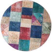 Patchwork - Persien/Iran Covor Ø 200 Modern Lucrat Manual Rotund Albastru Închis/Violet Deschis (Lână, Persia/Iran)