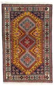 Yalameh Covor 81X126 Orientale Lucrat Manual Roșu-Închis/Maro Închis (Lână, Persia/Iran)