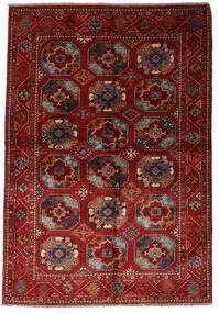 Modern Afghan Covor 137X201 Modern Lucrat Manual Roșu-Închis (Lână, Afganistan)