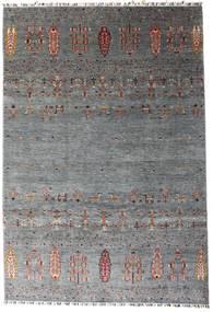 Shabargan Covor 207X303 Modern Lucrat Manual Gri Închis/Albastru (Lână, Afganistan)