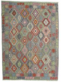 Chilim Afghan Old Style Covor 174X239 Orientale Lucrate De Mână Gri Închis/Gri Deschis (Lână, Afganistan)