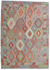 Chilim Afghan Old Style Covor 171X233 Orientale Lucrate De Mână Gri Închis/Gri Deschis (Lână, Afganistan)