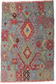 Chilim Afghan Old Style Covor 99X145 Orientale Lucrate De Mână Gri Închis/Roșu-Închis (Lână, Afganistan)