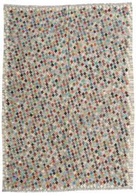 Chilim Afghan Old Style Covor 210X287 Orientale Lucrate De Mână Gri Deschis/Gri Închis (Lână, Afganistan)