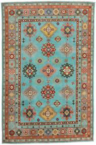 Kazak Covor 200X304 Orientale Lucrat Manual Albastru Turcoaz/Roşu (Lână, Afganistan)