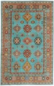 Kazak Covor 198X313 Orientale Lucrat Manual Albastru Turcoaz/Lumina Verde (Lână, Afganistan)