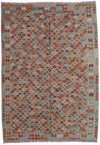 Chilim Afghan Old Style Covor 207X293 Orientale Lucrate De Mână Gri Închis/Gri Deschis/Roșu-Închis (Lână, Afganistan)