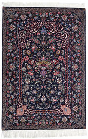 Isfahan Urzeală De Mătase Covor 110X160 Orientale Lucrat Manual Negru/Mov Închis (Lână/Mătase, Persia/Iran)