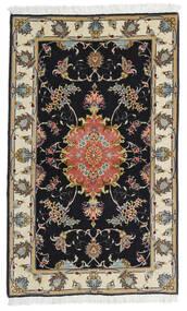 Tabriz 60 Raj Urzeală De Mătase Covor 73X120 Orientale Lucrat Manual Negru/Bej Închis (Lână/Mătase, Persia/Iran)