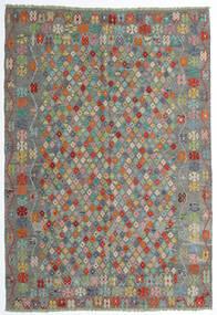 Chilim Afghan Old Style Covor 208X298 Orientale Lucrate De Mână Gri Închis/Gri Deschis (Lână, Afganistan)