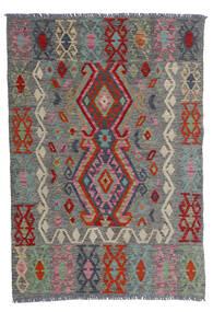 Chilim Afghan Old Style Covor 100X143 Orientale Lucrate De Mână Gri Închis/Roșu-Închis (Lână, Afganistan)