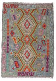 Chilim Afghan Old Style Covor 100X141 Orientale Lucrate De Mână Gri Închis/Gri Deschis (Lână, Afganistan)