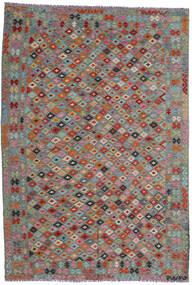 Chilim Afghan Old Style Covor 204X296 Orientale Lucrate De Mână Gri Închis/Roșu-Închis (Lână, Afganistan)