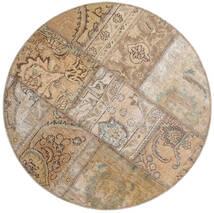 Patchwork - Persien/Iran Covor Ø 100 Modern Lucrat Manual Rotund Gri Deschis/Maro Deschis (Lână, Persia/Iran)
