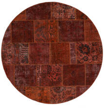 Patchwork - Persien/Iran Covor Ø 200 Modern Lucrat Manual Rotund Maro Închis/Roșu-Închis (Lână, Persia/Iran)