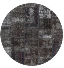 Patchwork - Persien/Iran Covor Ø 200 Modern Lucrat Manual Rotund Negru/Maro (Lână, Persia/Iran)