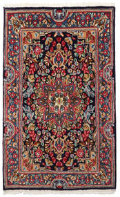 Kerman Covor 90X149 Orientale Lucrat Manual Gri Închis/Albastru Închis (Lână, Persia/Iran)
