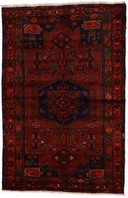 Zanjan Covor 137X212 Orientale Lucrat Manual Maro Închis/Roșu-Închis (Lână, Persia/Iran)