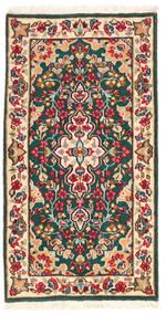 Kerman Covor 62X118 Orientale Lucrat Manual Bej/Gri Închis (Lână, Persia/Iran)