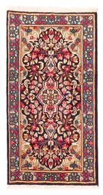 Kerman Covor 58X112 Orientale Lucrat Manual Roșu-Închis/Roz Deschis (Lână, Persia/Iran)