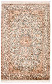 Kashmir Pură Mătase Covor 98X152 Orientale Lucrat Manual Bej/Maro Închis (Mătase, India)