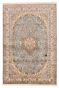Kashmir Pură Mătase Covor 127X188 Orientale Lucrat Manual Bej/Maro Închis (Mătase, India)