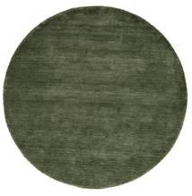 Handloom - Verde Pădure Covor Ø 200 Modern Rotund Verde Închis (Lână, India)
