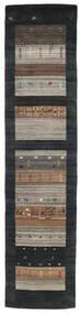 Loribaf Loom Covor 79X340 Modern Lucrat Manual Negru/Gri Deschis (Lână, India)