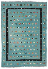 Chilim Nimbaft Covor 208X292 Modern Lucrate De Mână Întuneric Turquoise/Negru (Lână, Afganistan)