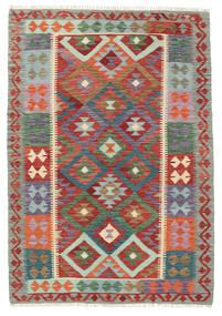 Chilim Afghan Old Style Covor 127X182 Orientale Lucrate De Mână Roșu-Închis/Gri Închis (Lână, Afganistan)