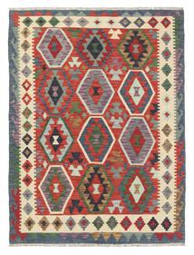 Chilim Afghan Old Style Covor 131X177 Orientale Lucrate De Mână Gri Închis/Bej (Lână, Afganistan)