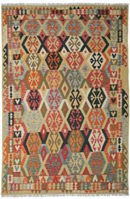 Chilim Afghan Old Style Covor 205X311 Orientale Lucrate De Mână Roșu-Închis/Bej Închis (Lână, Afganistan)