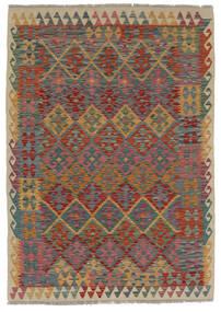 Chilim Afghan Old Style Covor 124X170 Orientale Lucrate De Mână Maro Închis/Negru (Lână, Afganistan)