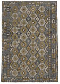 Chilim Afghan Old Style Covor 209X303 Orientale Lucrate De Mână Negru (Lână, Afganistan)