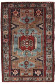 Hamadan Covor 132X205 Orientale Lucrat Manual Negru/Maro Închis (Lână, Persia/Iran)