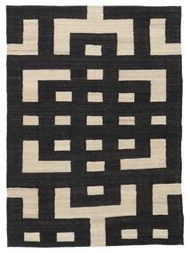 Chilim Modern Covor 132X177 Modern Lucrate De Mână Negru/Maro Deschis (Lână, Afganistan)