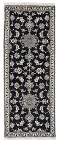 Nain Covor 77X195 Orientale Lucrat Manual Negru/Bej-Crem (Lână, Persia/Iran)