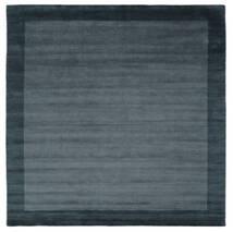 Handloom Frame - Petrol Albastru Covor 300X300 Modern Pătrat Negru/Albastru Închis Mare (Lână, India)