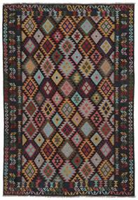 Chilim Afghan Old Style Covor 207X299 Orientale Lucrate De Mână Negru/Maro Închis (Lână, Afganistan)