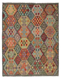 Chilim Afghan Old Style Covor 160X204 Orientale Lucrate De Mână Maro Închis/Verde Închis (Lână, Afganistan)