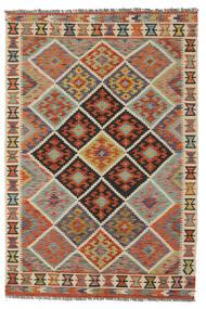 Chilim Afghan Old Style Covor 128X188 Orientale Lucrate De Mână Maro Închis/Verde Închis (Lână, Afganistan)